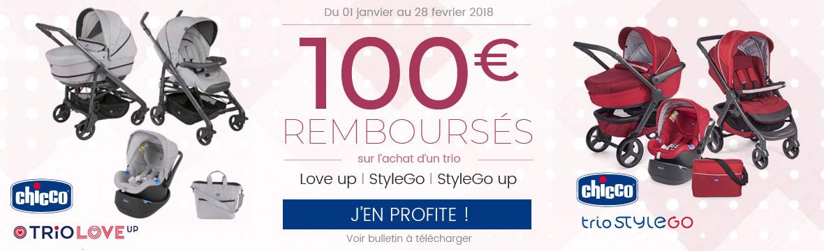 100€ remboursés sur un trio !